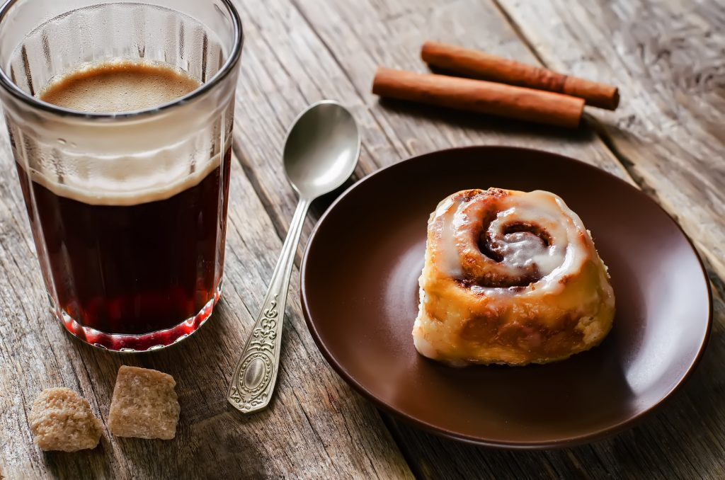 Cinnamon rolls and coffee
