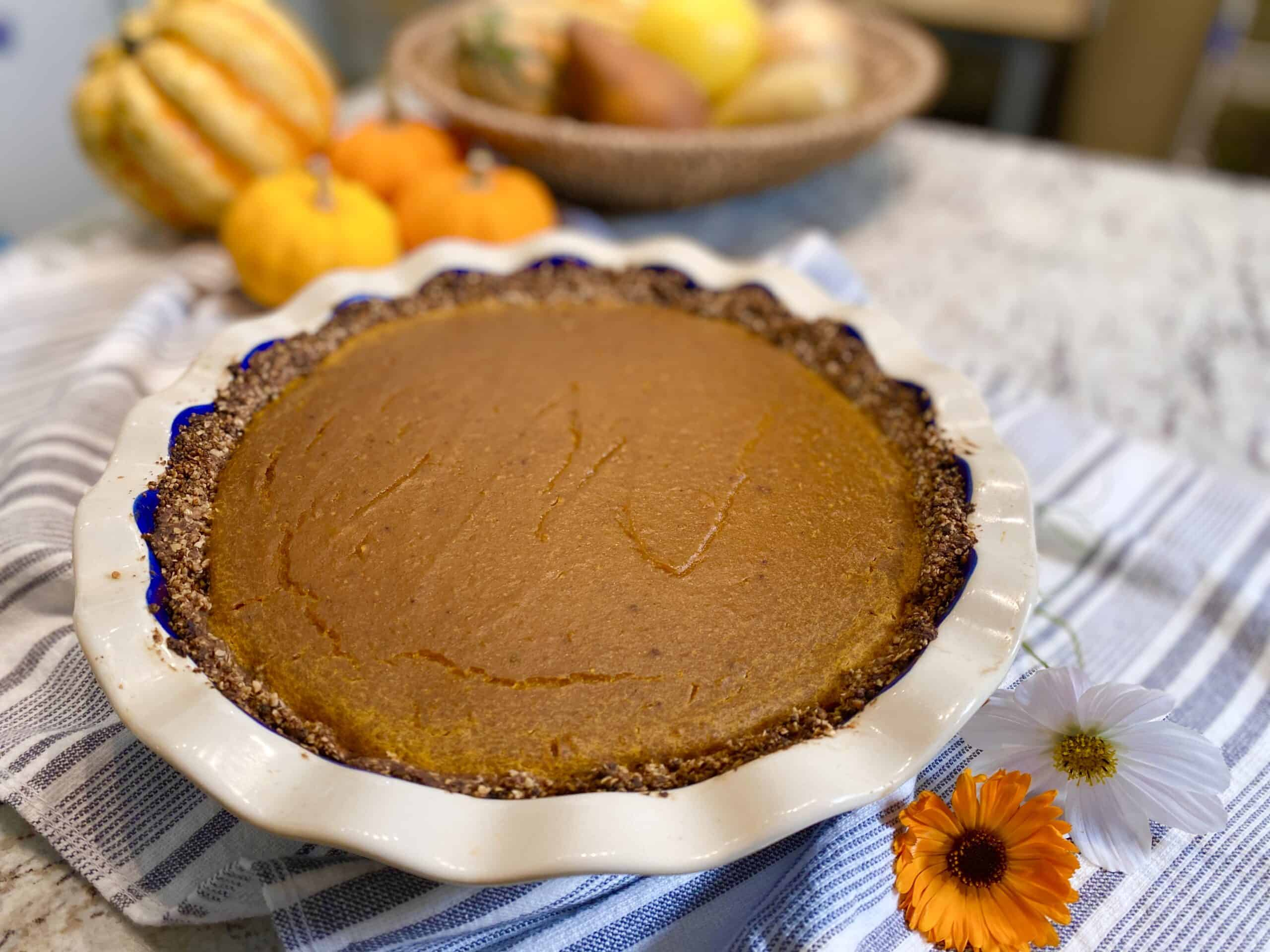 Vegan Squash Pie on a counter