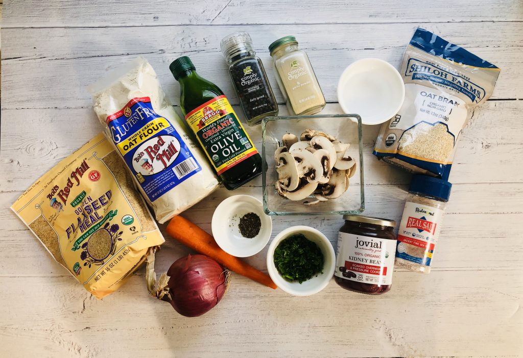 Ingredients for making a veggie burger