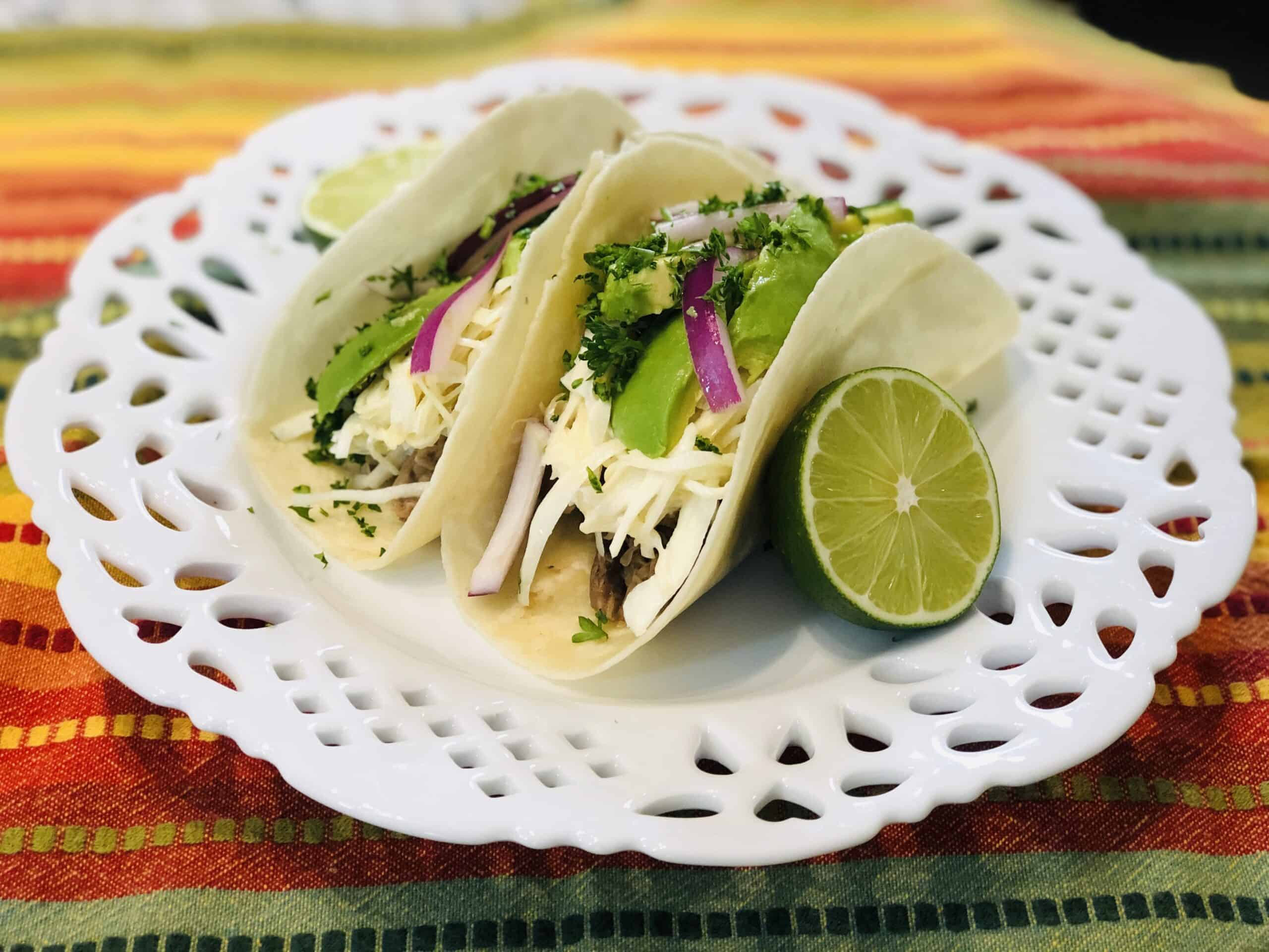 Jackfruit tacos on a plate