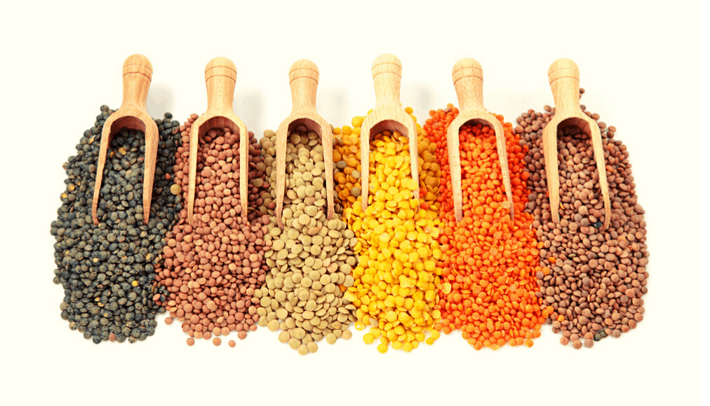 Different varieties of dried lentils