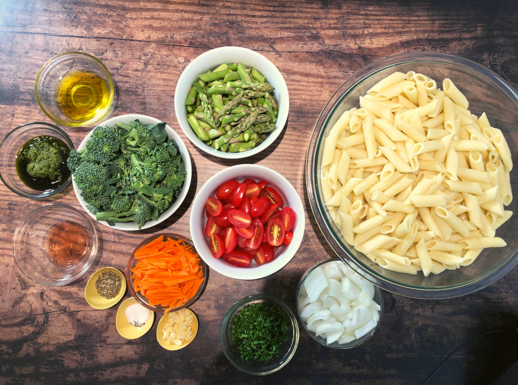 Pasta ingredients laid out on a table