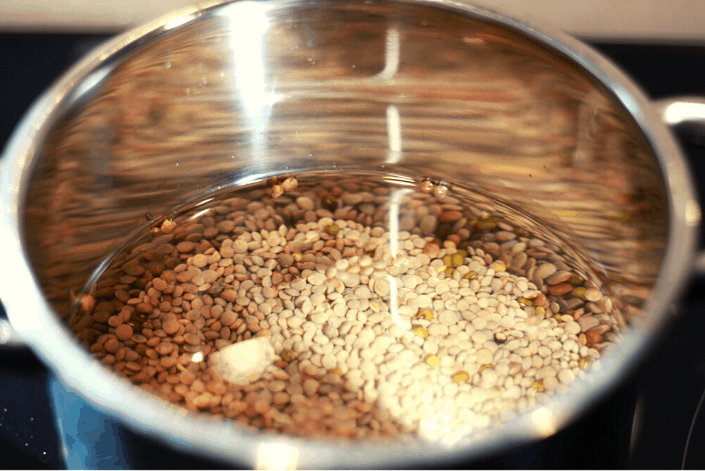 dried lentils in stainless steel pot