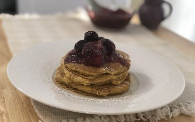 Vegan Butternut Squash Pancakes with Cherry Compote